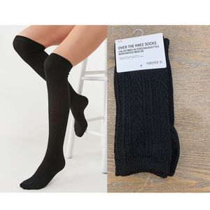 Cable Knitted Pattern Over The Knee Socks
